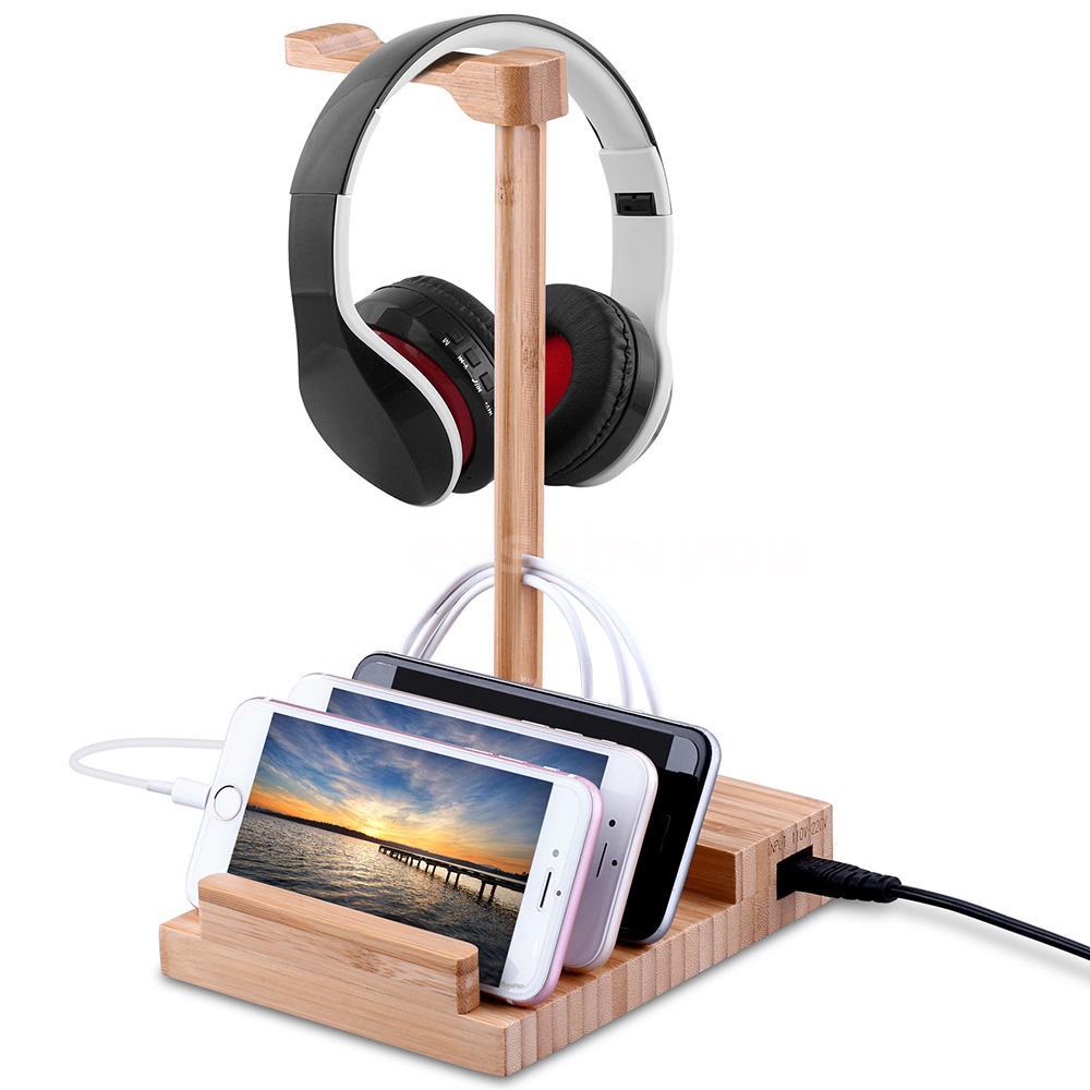 Wood Headphone Display Stand Hanger Holder USB3.0 Rack for Headset Earphone H0S2