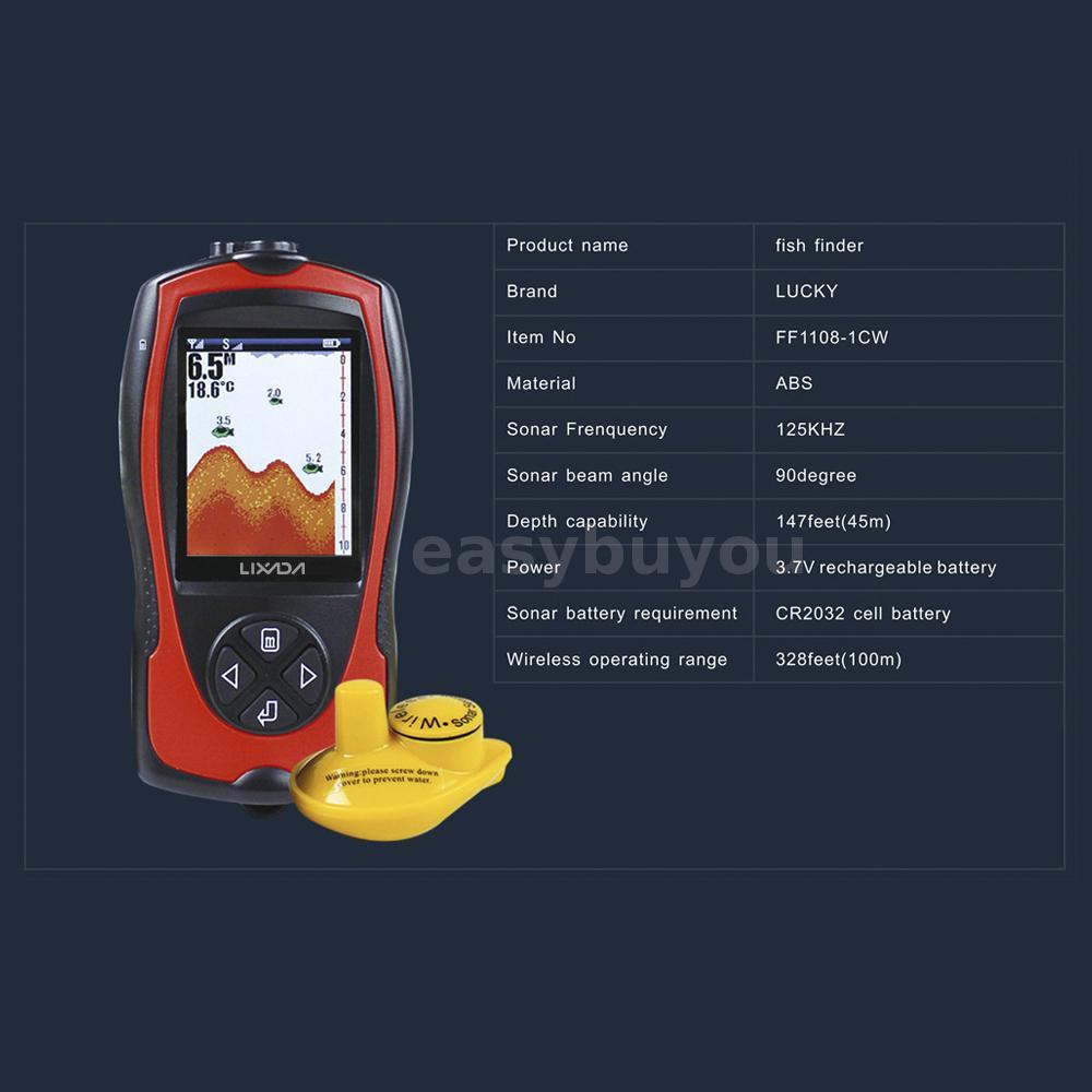 Lixada Sonar Transducer Depth Locator ICE Fish Finder Alarm Fish Detector M5Z9